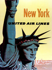 New York United Airlines, Retro metal Aluminium Sign vintage / man cave / Garage