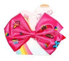 NWT JoJo Siwa Pink Emoji Hair Bow Ponytail Holder Cheer Dance Pageant School