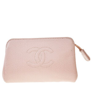 Auth CHANEL CC Logo Mini Cosmetic Pouch Caviar Skin Leather Pink Italy 04MF566