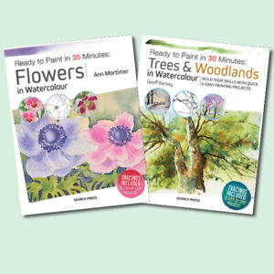 TWO NEW WATERCOLOUR PAINTING BOOKS - Ready to Paint: Flowers, Trees & Woodland