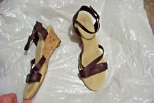 womens faded glory gigi brown strappy cork wedge heels shoes size 10