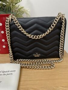 KATE SPADE Quilted Black Leather Shoulder/crossbody Chain Bag.