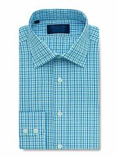Contemporary Fit, Classic Collar, 2 Button Cuff Shirt in a Blue Check Twill Cott