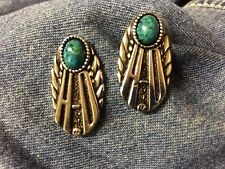 Silver 'HD Oval w/ Turquoise Stone post earrings- biker* harley * motorcycle