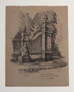 Original 1961 ink drawing JAVA, Surakarta, Solo, palace entrance