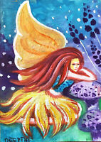 ACEO original miniature painting WaterColor Art - Fairy Night