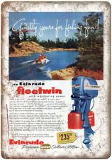 "Evinrude Outboard Motors Fleetwin Vintage Ad 10"" x 7"" Reproduction Metal Sign"