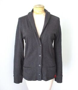 Mini Cooper gray button jacket blazer jersey knit shawl collar pockets UK flag M