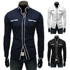 Unifarbene Langarm Herren-Freizeithemden & -Shirts mit Stehkragen