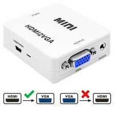 Convertidor de HDMI a VGA Jack 3.5mm Incluye Cable Alimentación Mini USB Blanco