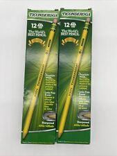 Lot Of 2 Dixon Ticonderoga Pre Sharpened Pencils Hb 2 Yellow 12 Ct Dozen New