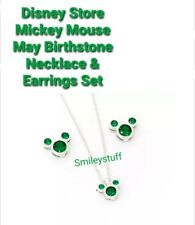 More details for genuine disney store mickey mouse green may birthstone earrings & necklace set