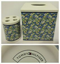 Tommy Hilfiger Elizabeth Anne Tissue Box Toothbrush Holder Blue Floral Country