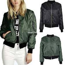 New Womens Classic Bomber Jacket Vintage Zip Up Biker Stylish Padded Coat A+++