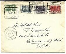 Trein Blokstempel Enschede - Amsterdam D Jubileum 1952 Olst naar Michigan USA