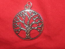 NEW DOMED SILVER CELTIC IRELAND 25mm TREE OF LIFE  PENDANT CHARM NECKLACE