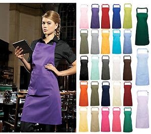 Premier Plain Polycotton Bib Apron with Pocket In 40 Colours Workwear PR154 Cafe