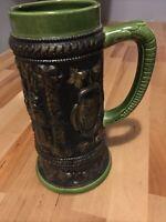 Vintage German Stoneware Salt Glaze Green Beer Mug Art Scene