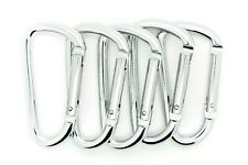 "Pack of 6 pcs 3"" Aluminum Carabiner Spring Belt Clip Key Chain D Shape Silver"