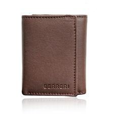 Para hombres Cuero Genuino Marrón Cartera soporte tarjeta de seguro RFID triple Reino Unido Stock En Caja