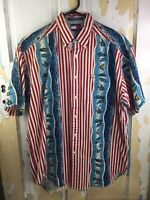 VTG Tommy Hilfiger Mens Med Patriotic Fish & Stripes Button Down S/S Shirt 90s