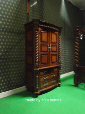 Large Jacobean TUDOR Armoire wardrobe Mansion Twist solid 100% Mahogany wood