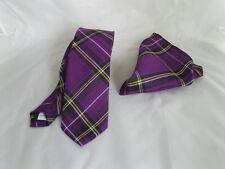 """Tartan Purple/Black Polyester Mens Skinny Tie and Hankie Set-Tie-2.5""""= 6cm Width"""