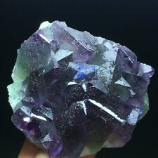 159g  Purple/Green Translucent Octahedral Fluorite Crystal Mineral Specimen