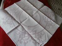 "FOUR VINTAGE ART DECO WHITE COTTON DAMASK LARGE TABLE NAPKINS ~ 21"" square ~"