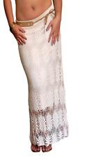 Ladies MIDI Skirt Long Crochet Lace Boho Maxi Size 8 10 12 14