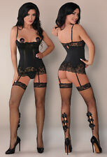 CoFASHION Malindi Luxury Corset, Attached Garter Straps, Stockings and G-String