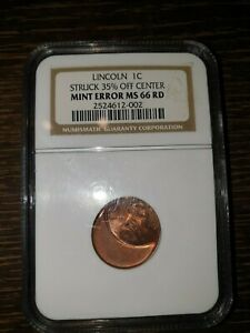 Lincoln 1 cents mint error MS 66RD