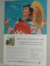 1956 Bell Telephone advertisement, Japanese Girl in Kimono, paper umbrella