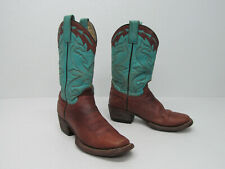 STETSON HANDMADE IN MEXICO Brown/Turquoise Leather Cowboy Boots Women's 5B