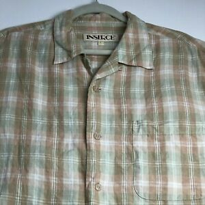 Inserch Men Short Sleeve Button Up Shirt Large L Brown Beige Plaid Linen Casual