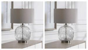 "TWO STORM MODERN COASTAL BEACH ART GLASS 24"" TABLE LAMP UTTERMOST 28389"