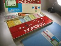 Vintage 1961 Monopoly Board Game Parker Brothers - family classic fun complete