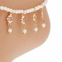 Women Chic Beads Beaded Stretch Crystal Tassel Anklet Chain Elegant Jewelry LE