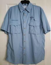 Guy Harvey Button Down Shirt Mens Medium Blue Short Sleeve Vented Nylon Fishing