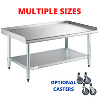 "Equipment Stand Stainless Steel Work Table 2"" Edging Undershelf Optional Casters"