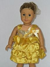 "Gold Ruffle Dress Fits 18"" American Girl Doll Clothes"