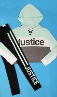 JUSTICE GIRLS LEGGINGS & HOODIE OUTFIT GLITTER STUDDED LOGO SIZE 10 NWT