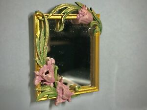 Dollhouse miniature floral wall mirror vintage golden frame - 1:16 Lundby scale