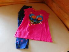 Girls Children's Clothing 2 Pc Outfit Set Size M Pink TShirt & Blue Leggings