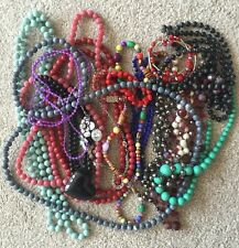 Bundle Of Used Vintage And New Bead Necklaces And Other Jewellery.