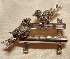 Vintage Jomaz Love Birds On A Diamante Park Bench Swarovski Brooch Pin 1950s