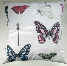 """Grey Photographic Butterfly Dragonfly Cushion Cover 16"""" Matches Next Curtains"""