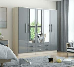 Large 5 door high gloss mirrored fitment wardrobe - GREY - 6 Drawer - NEW COLOUR
