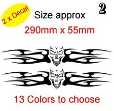 SET 2X TRIBAL FLAME SKULLS Graphic Vinyl Decal Sticker Car, Laptop Bike (REF 2)
