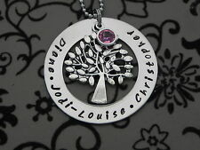 Personalised Hand Stamped Family Names any Wording Tree Of Life Pendant